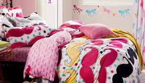 Lovely Pink Girls Bedroom Theme With Flower Mustache Bed Set