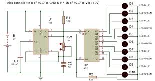 running led led chaser or sequencer using 555 & 4017 adam 4017 wiring diagram at 4017 Wiring Diagram