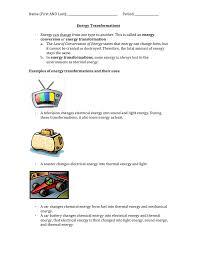 Light Energy To Mechanical Energy Energy Transformations Student Worksheet