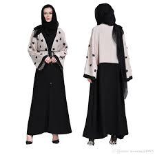 New Abaya Design 2019 Dubai 2019 Women Appliques Patch Designs Cardigan Muslim Abaya Islamic Arab Dress Flare Sleeve Turkish Robes Jilbab Dubai Kimono From Donnatang240965