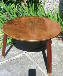 retro vintage circular copper top coffee table hammered design 3 spindle legs