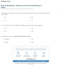 quiz worksheet history of the one child policy in print s one child policy facts history worksheet