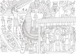 エジプトの古代文明ツタンカーメン王の宝物の塗り絵です ぬりえラボ