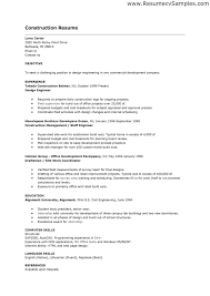 Example Of Construction Resume Examples Of Resumes
