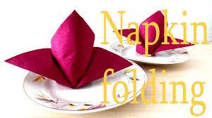 Paper Napkin Folding Flower How To Fold A Napkin Flower Lily Folding Napkins Easy