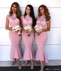 Special Tea Length Pink Bridesmaid Dresses See Through Lace Top Cap Sleeve Mermaid Maid Of Honor Gowns After Six Bridesmaid Dresses Aqua Bridesmaid