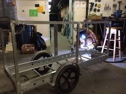 welding the bones of the bici cocina cart
