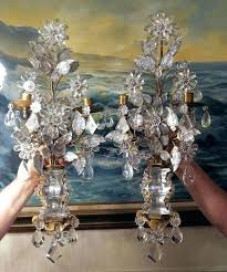 vintage crystal chandelier crystal chandeliers 2 french rock crystal antique sconces beaded vintage brass bronze in antiques decorative chandeliers