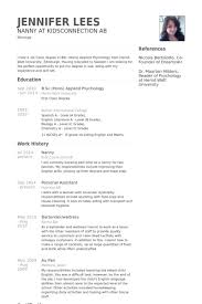 Nanny Resume Sample Templates Cv Template Examples Alid Info