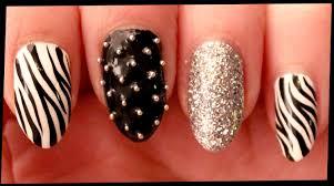 Zebra & Silver Glitter nail art - YouTube