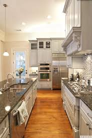 Kitchen:Luxurious Long Narrow Kitchen Design With Marble Countertop And  White Kitchen Cabinet Plus Wooden