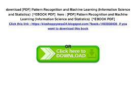 Pattern Recognition And Machine Learning Pdf Enchanting PDF] Pattern Recognition And Machine Learning Information Science A