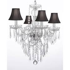 4 light venetian style empress crystal chandelier with black shades and crystal icicles