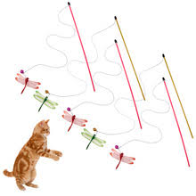 5pcs cat toys funny pet cat teaser with bell dragonfly wire wand stick toys for cat