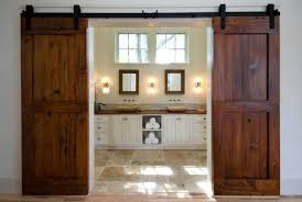 red sliding barn door. Double Sliding Barn Doors Bathroom Red Door