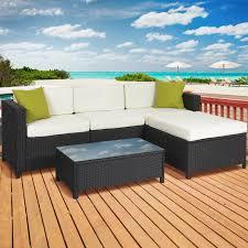 bcp 5pc rattan wicker aluminum frame sofa set cushioned sectional outdoor patio com