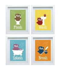 Kids Bathroom Wall Decor Bathroom Rules Art Kids Bathroom Decor Owl Wall Decor Set Of
