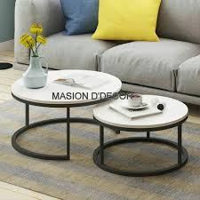 marble ss white round coffee table m