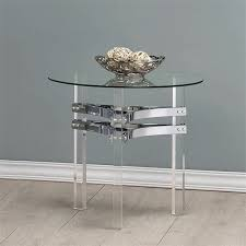 image is loading coaster round glass top end table in chrome