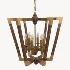dunbar iron and wood chandelier one world