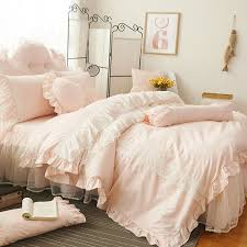 light pink and white vintage victorian lace attached dust ruffle elegant romantic girls princess twin full queen size bedding sets