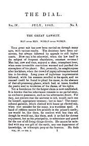 w in the nineteenth century the book was expanded from the essay the great lawsuit first published in the 1843 issue of the dial