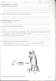 unit i intro to biology and animal behavior ch 34 worksheet p 507