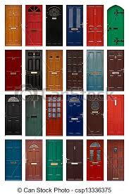 residential front doors. isolated front doors - csp13336375 residential