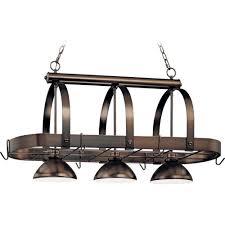 volume lighting 3 light antique bronze pot rack pendant