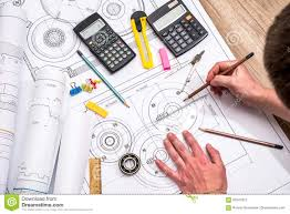 Design Engineer Images Mechanical Engineer With Work At Technical Drawings Stock