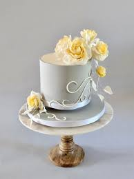 Small Wedding Cake With Yellow Sugar Roses Cakecentralcom