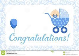 Congratulation On A Baby Congratulations Baby Boy Card English Vector Stock Vector