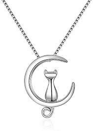 sunshine women silver plated cute animal cat moon pendant necklaces party jewelry gift