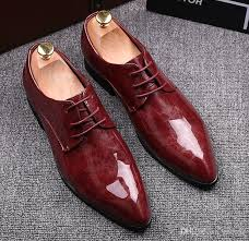 2018 new fashion black red genuine leather men dress shoes male business oxford shoes
