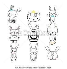 Disegni Divertente Set Carino Coniglietti Collezione Animals