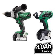 hitachi 18v drill. hitachi kc18dkl/ja 18v cordless li-ion 2 piece combi drill \u0026 impact driver kit (2 x 4ah batteries) 18v s