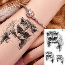 енот водонепроницаемые временные татуировки мужские имитация тату на руку Harajuku