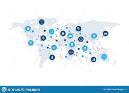 Network Marketing Chart Social Media Network And Marketing Concept With Dotted World