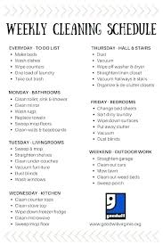 Weekly House Cleaning Chart Weekly House Cleaning Astreagrand
