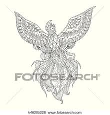 Drawings Of Phoenix Clip Art Of Phoenix K46205228 Search Clipart Illustration Posters