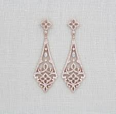 rose gold art deco earrings chandelier swarovski bridal crystal wedding jewelry vintage heart real silver tragus