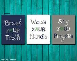 kids bathroom decor signs. Beautiful Decor Bathroom Wall Art Brush Your Teeth Sign Wash Hands  Decor Say Prayers Kids Bath With Decor Signs D
