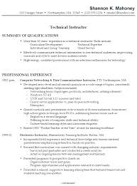 Sample Resume for a Technical Instructor