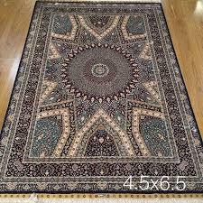 handmade iranian persian qum qom silk carpet hand knotted oriental rugs