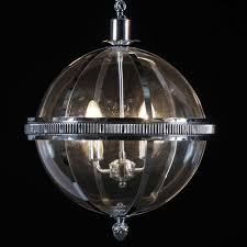large chrome and glass round ball lantern chandelier