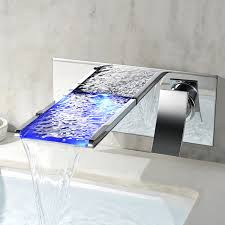 free ship modern bathroom color chang led wall mounted waterfall bath sink faucet tap new