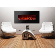royal series electric wall mount fireplace with logs 50 inch