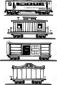 鉄道旅客サーカスboxcars車掌車の木版画のスタイルの画像
