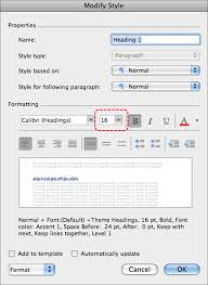 image demonstrates location of size option in formatting section of modify style dialog