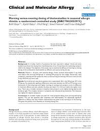 Pdf Morning Versus Evening Dosing Of Desloratadine In Seasonal